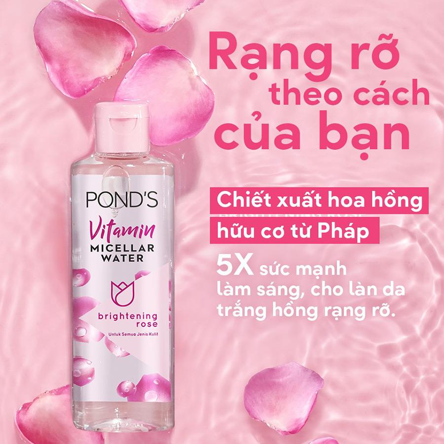 Cách dùng nước tẩy trang cho làn da rạng rỡ với nước tẩy trang Pond's Vitamin Micellar Water Brightening Rose