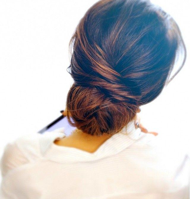 Kiểu tóc búi thấp thanh lịch