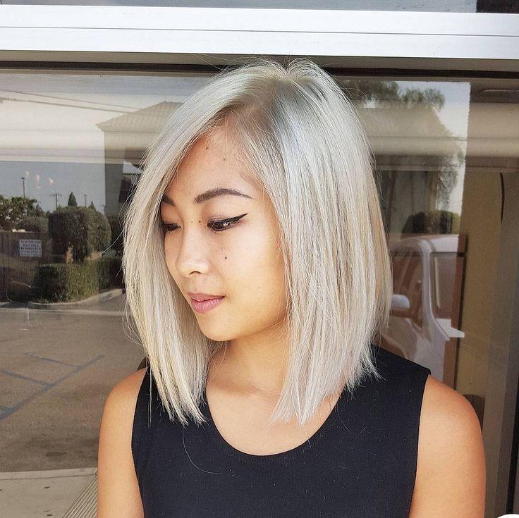 Tóc lob kết hợp với mái dài cùng màu tóc ấn tượng