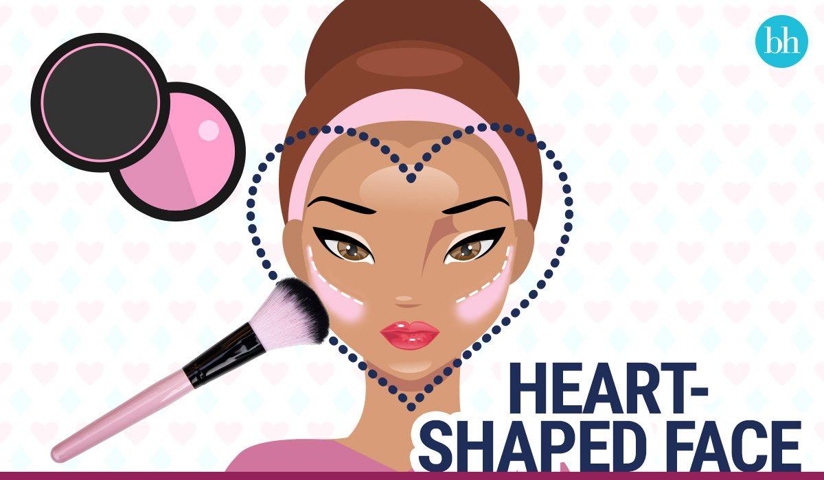 cách đánh má hồng mặt trái tim