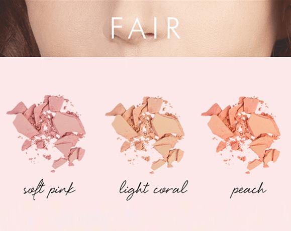 màu má hồng với tông da sáng