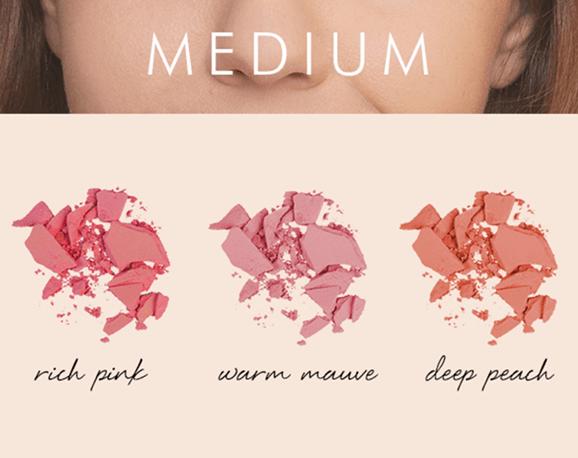 màu má hồng với tông da vừa