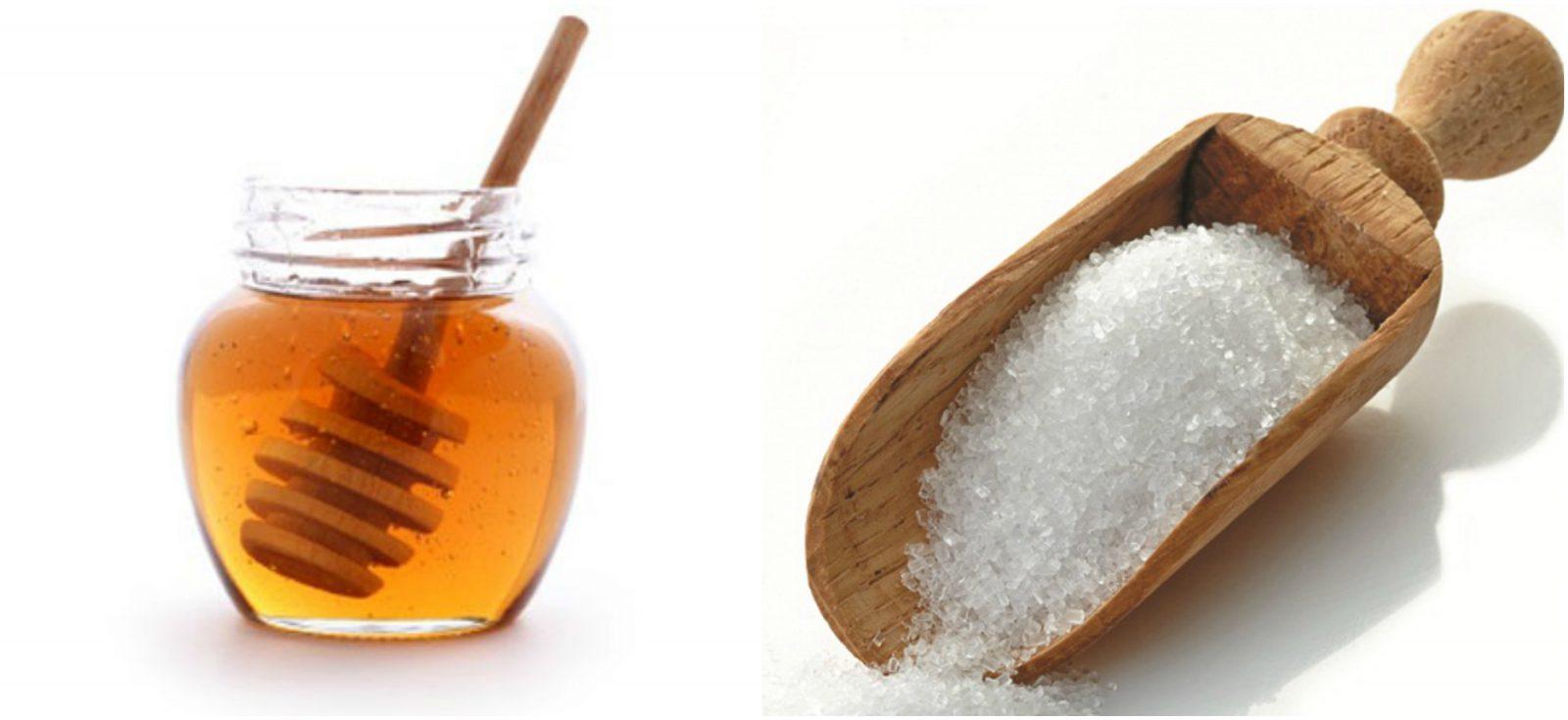 Mật ong và đường là hỗn hợp vừa tẩy vừa nuôi dưỡng da tốt