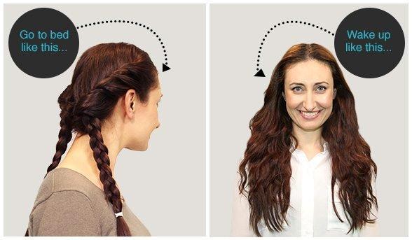 cách tự uốn tóc bằng thắt bím