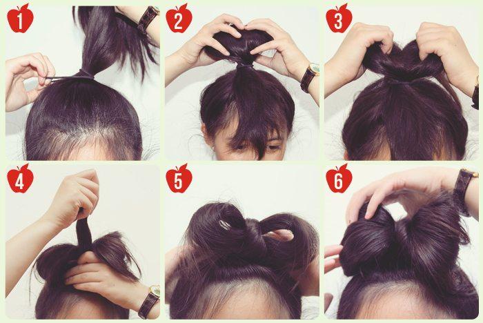cách búi tóc nơ