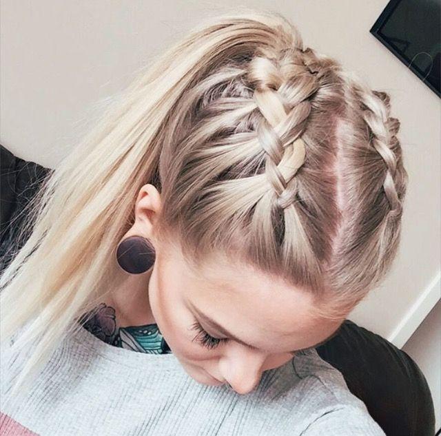 tóc buộc đuôi ngựa kết hợp với tóc tết sát đầu