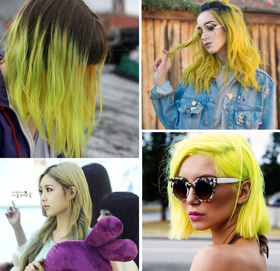 nhuộm tóc màu rêu vàng