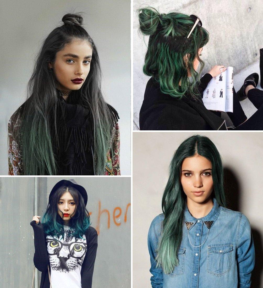 Tóc màu xanh rêu hợp với da nào