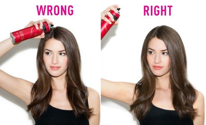 lưu ý khi dùng keo xịt màu cho tóc
