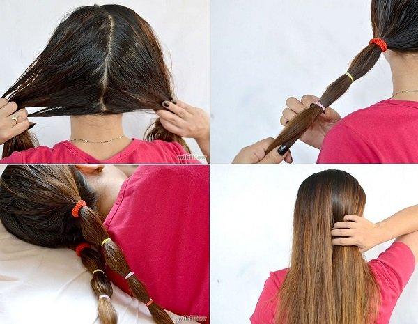 buộc cố định tóc qua đêm cũng là cách giúp tóc thẳng tự nhiên