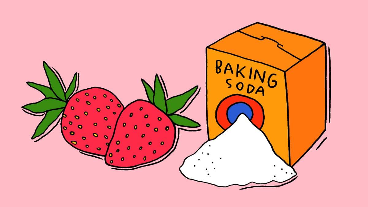 dâu tây kết hợp với baking soda