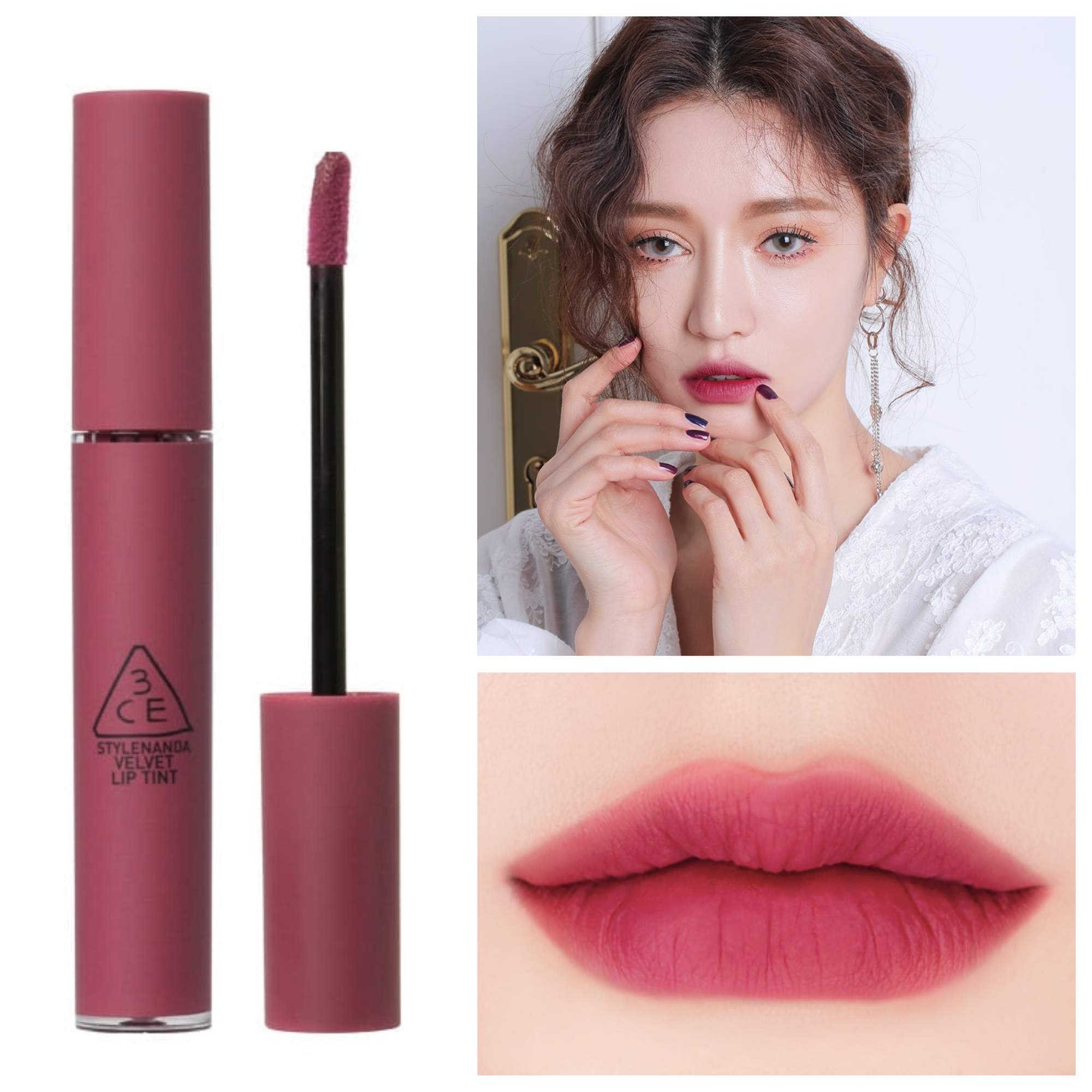 Bảng màu son kem 3CE Velvet Lip Tint Know Better
