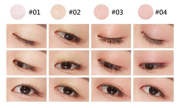 thử màu Nhũ mắt Hàn Quốc A'pieu Eye Glitter