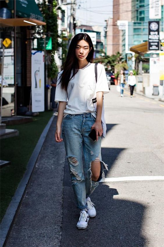 baggy jean + áo thun