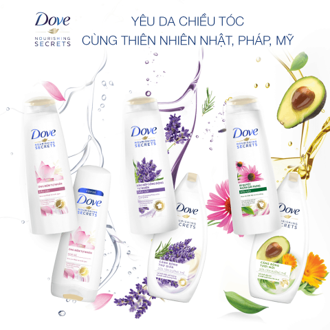 Trọn bộ dầu xả Dove – Tinh hoa đến từ thiên nhiên trên khắp thế giới