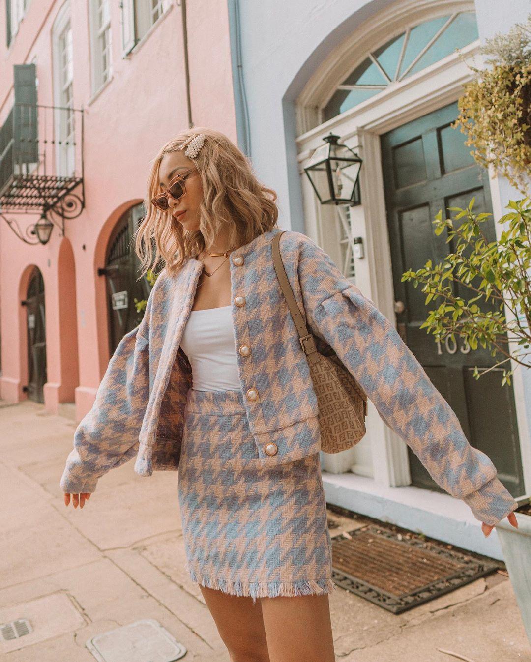 áo khoác mùa đông vải tweed