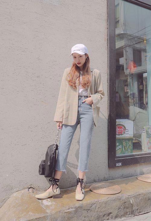 áo blazer và quần skinny jean