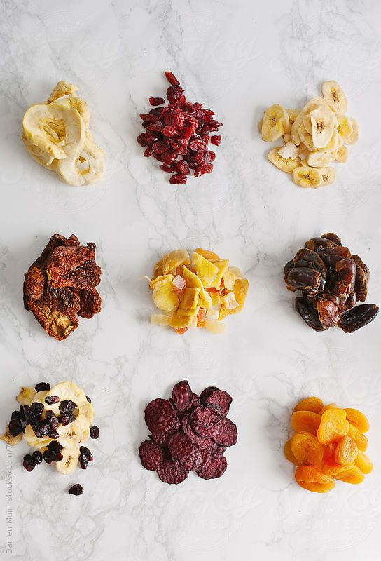 Dried fruit and vegetables.