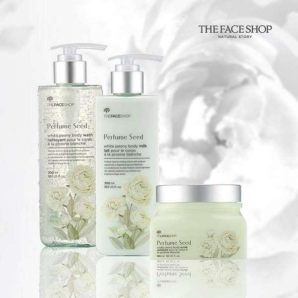 Kết quả hình ảnh cho The Face Shop Perfume Seed White Peony Body Gel Douche
