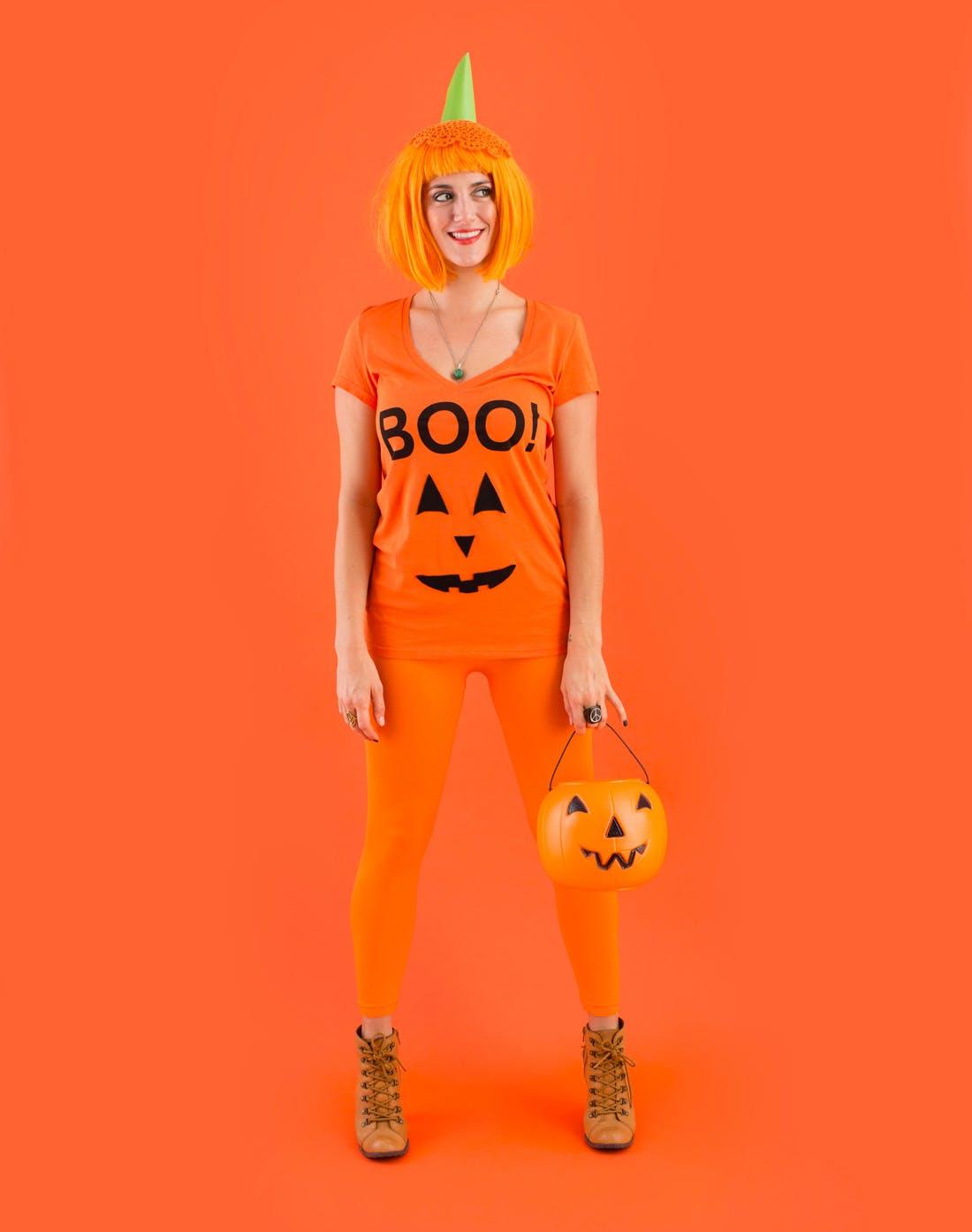 Quần áo Halloween tông cam bí ngô