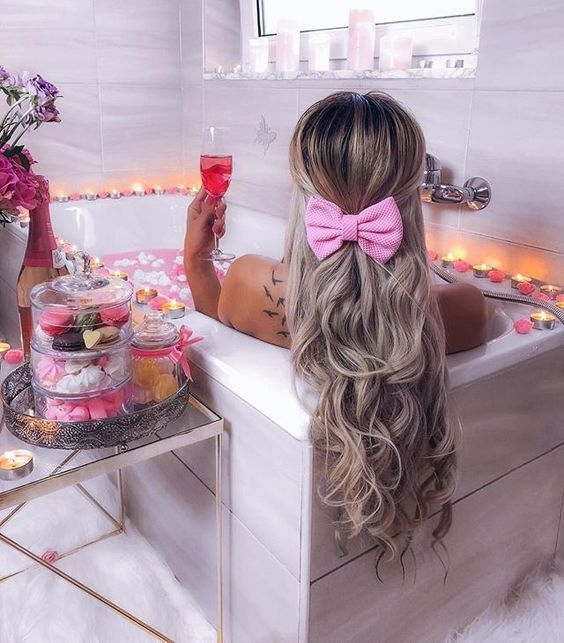 bath pretty pink bow candles
