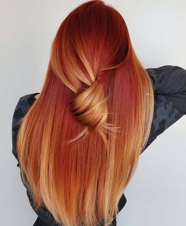 tóc thẳng kết hợp nhuộm tóc vàng