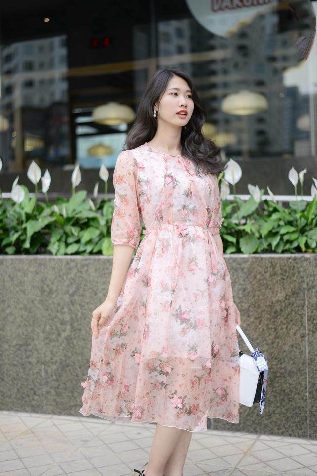 kiểu váy đẹp - đầm voan hoa tay lỡ
