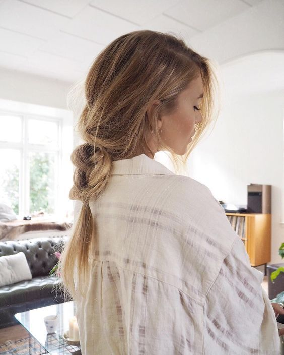low pony loose braid - #Braid #loose #pony
