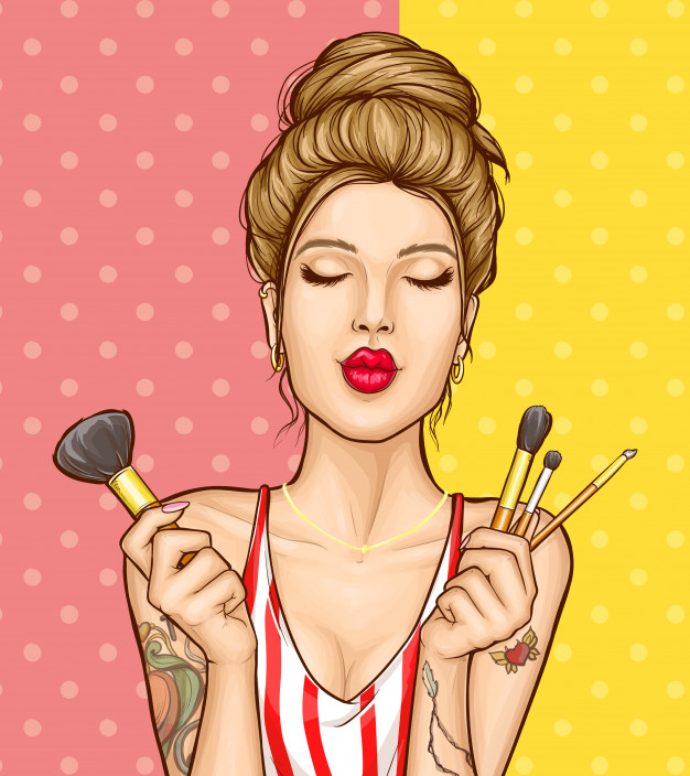 Image result for girl makeup illustration