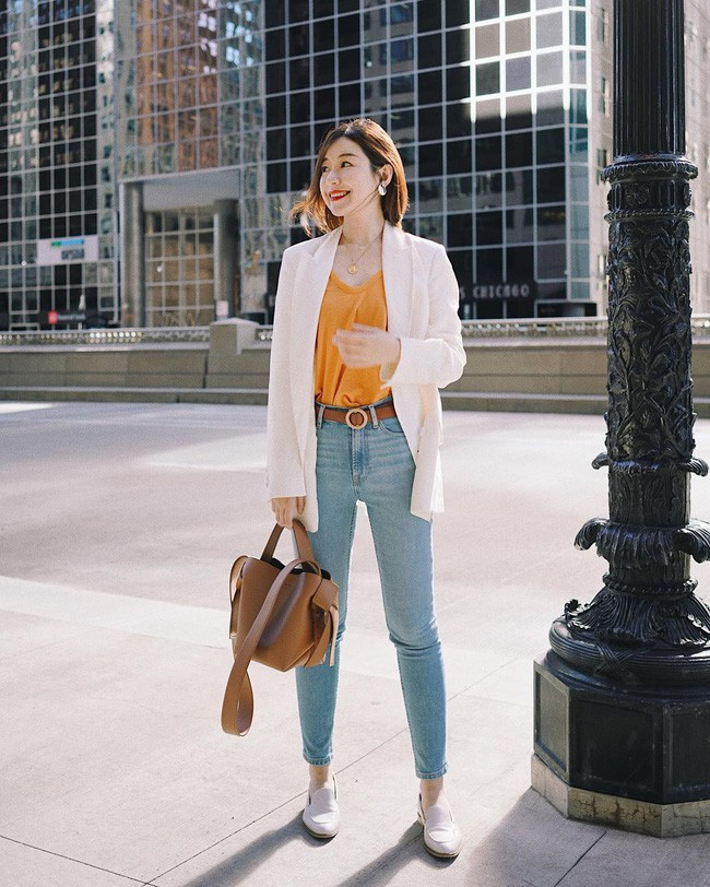 trang phục công sở cá tính khi kết hợp quần jean và áo blazer