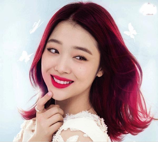 Image result for tóc đỏ tím ngang vai