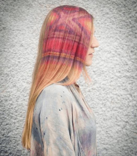 Blonde stencil hair criss cross and stripes