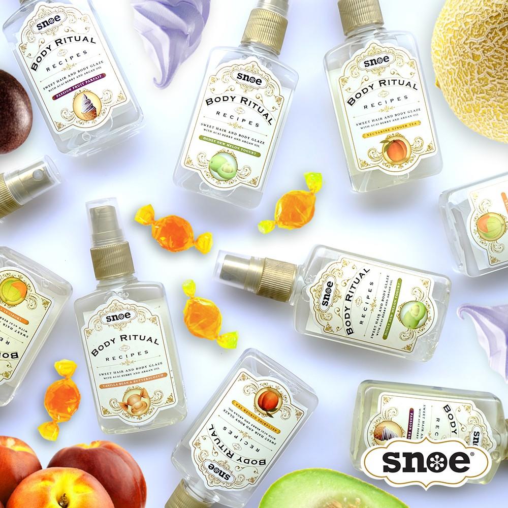 Kết quả hình ảnh cho Snoe Body Ritual Recipes Sweet Hair & Body Glaze in Strawberry Smoothie