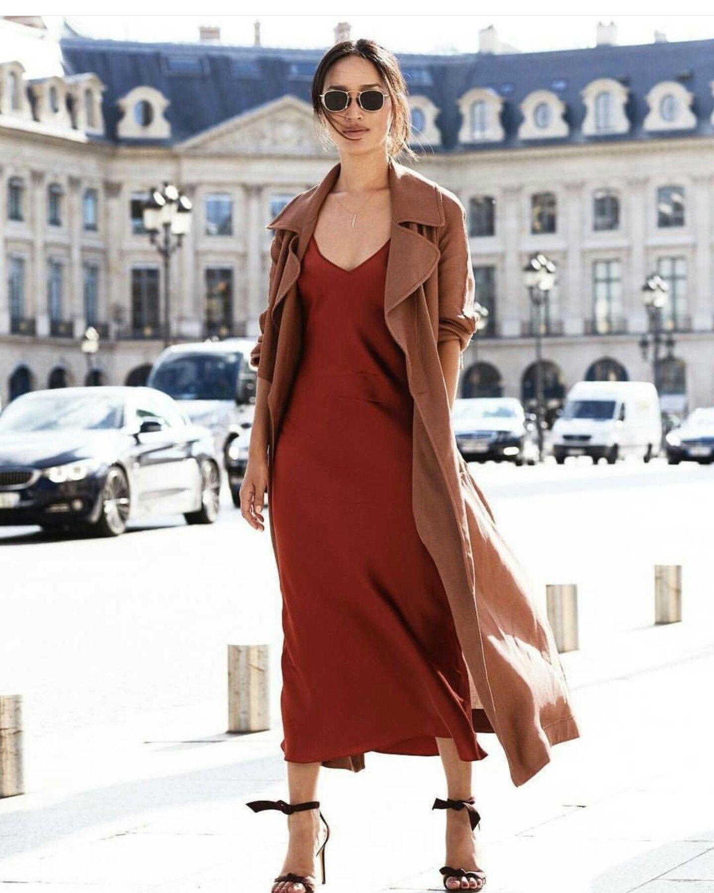 Kết quả hình ảnh cho slip dresses and trendcoat