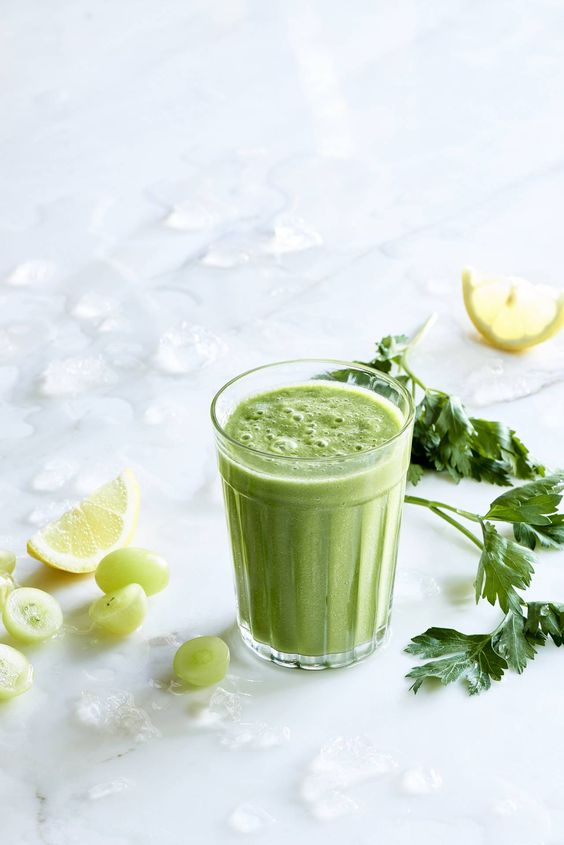 This grape parsley lemonade green smoothie from The Blender Girl Smoothies app is sweet, delicious, and loaded with cleansing goodness.