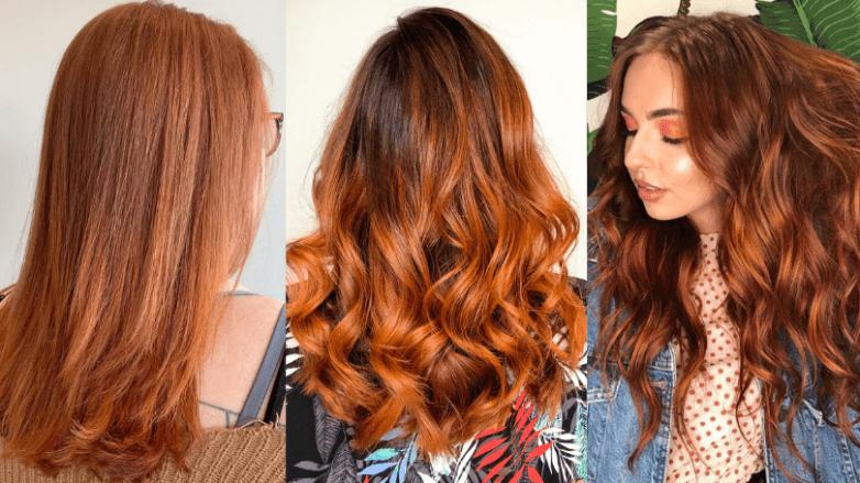 Three women with pumpkin spice hair colours