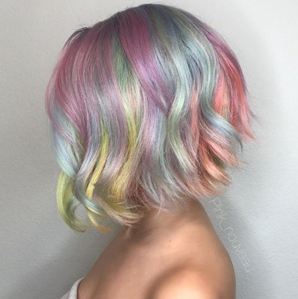 Woman with pastel rainbow bob