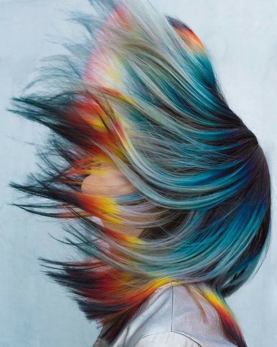 Wow Hair!!!!  Try this amazing rainbow fire with cliphair's dye-able 100$ human hair extensions. #rainbowhair #dyeableextensions #humanhair #clipinhairextensions #freeshipping #hairtransformation #prettyhair #hairfashion
