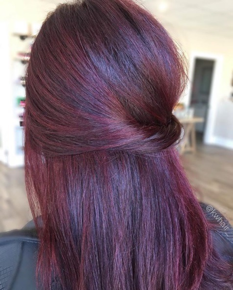 close up back view of a woman with straight shoulder length dark red and purple hair styled in a twisted half up half down style