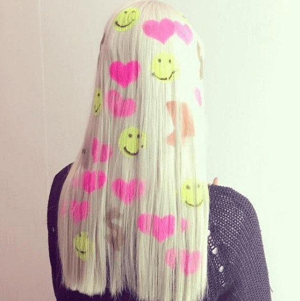 smilie faces and pink heart graffiti motifs