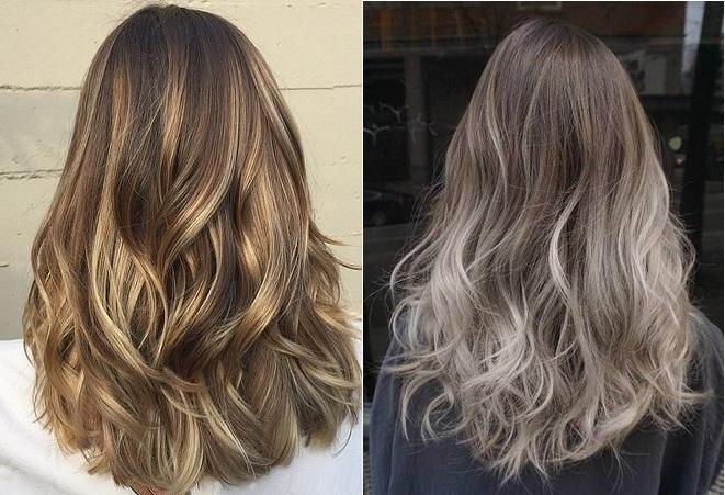 tóc mầu nâu lạnh highlight