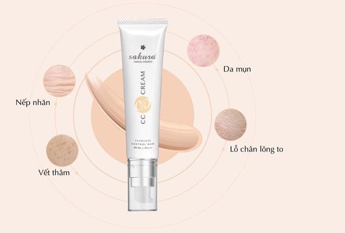 kem chống nắng trang điểm Sakura CC Cream
