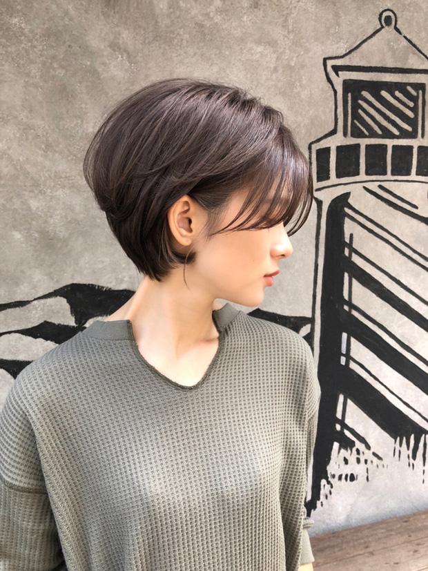 Tóc ngắn uốn nâu ánh tím