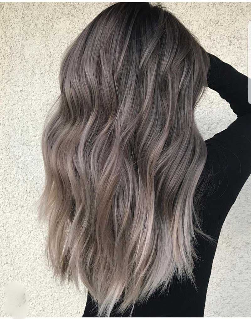 tóc màu nâu tây ánh khói