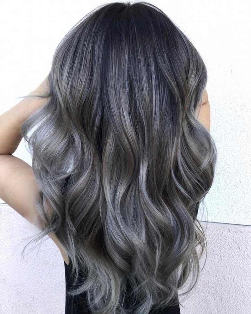 tóc màu nâu khói highlight