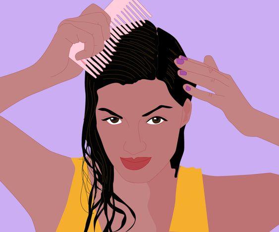 Bước 1. Dùng lược tách tóc làm 4-5 phần tùy độ dày