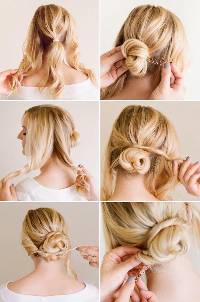 kiểu búi tóc đơn giản xoăn tiểu thư