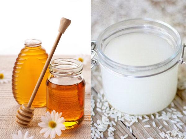Rửa mặt bằng nước vo gạo + mật ong