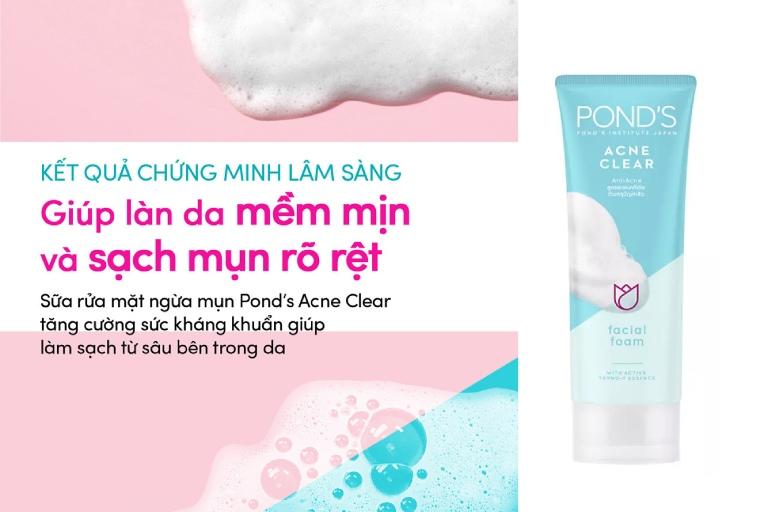 review sữa rửa mặt Pond's Acne Clear