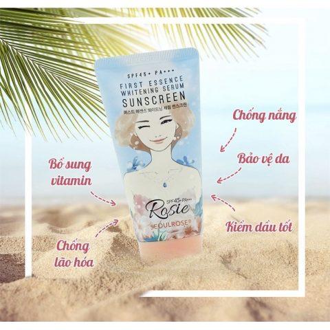 Tinh chất chống nắng Rosie First Essence Whitening Serum Sunscreen SPF 45/PA+++ cho da khô